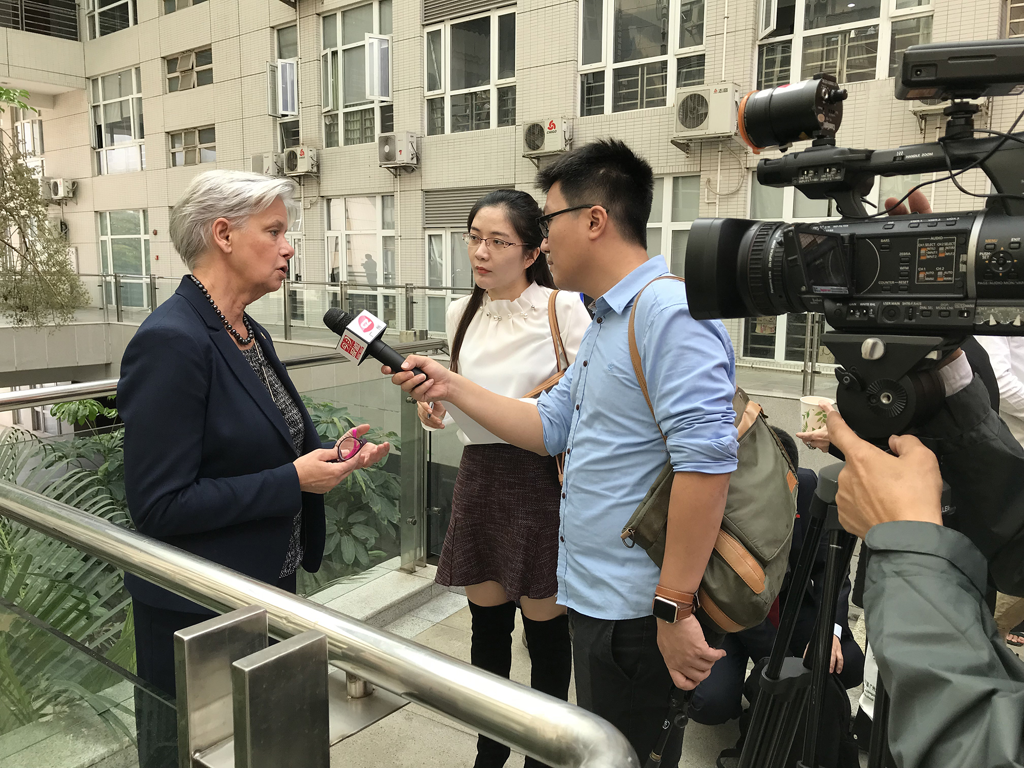 Helen Dannetun being interviewed by Chinese TV