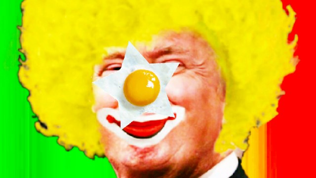 Caricature of Donald Trump in clown outfit
