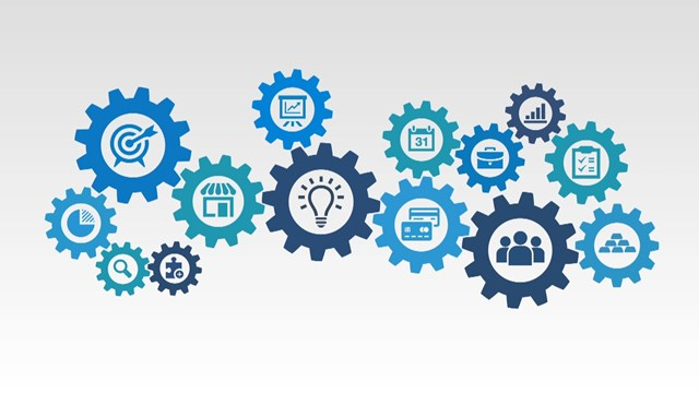 Picture with different symbols in cogwheels