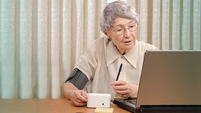 Elderly woman telemonitoring