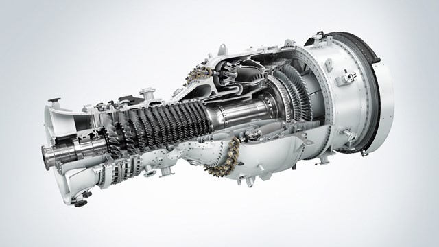 The picture shows the new Siemens industrial gas turbine with a power output of 53 MW.