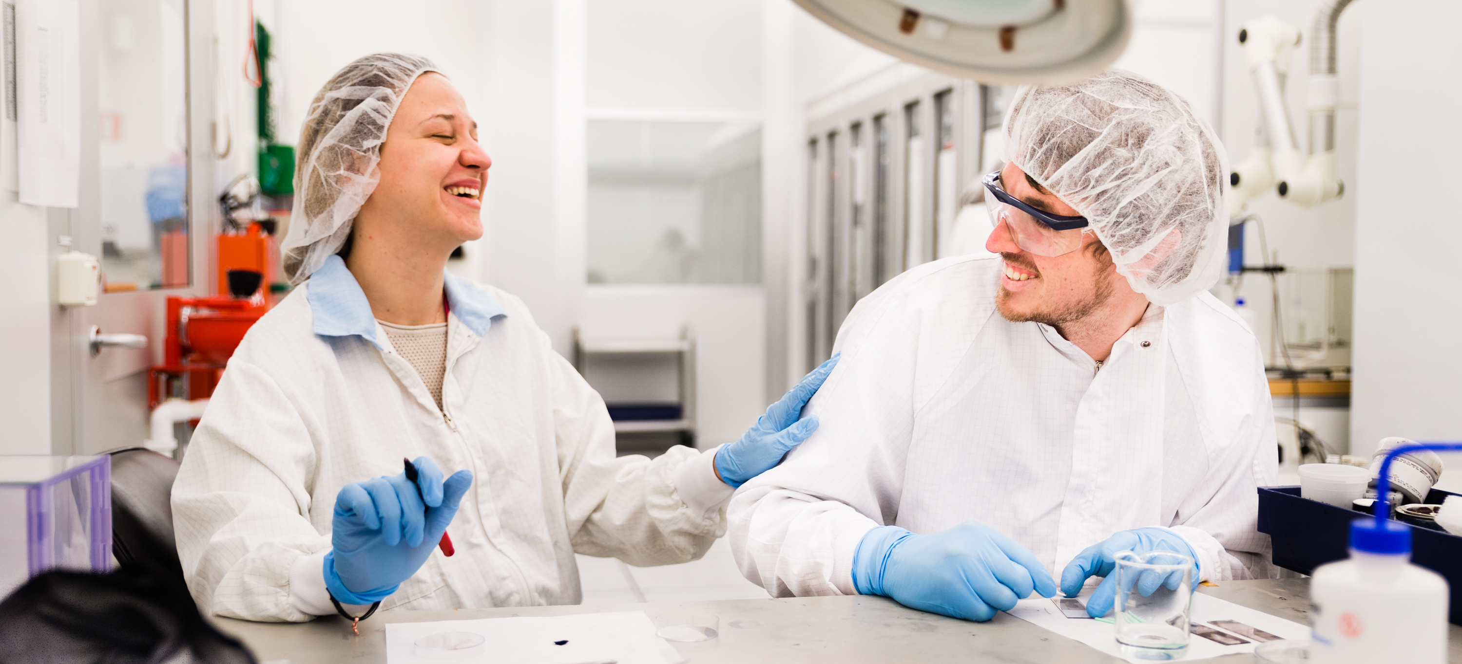 Organic electronic researchers at clean room lab at Linkoping University