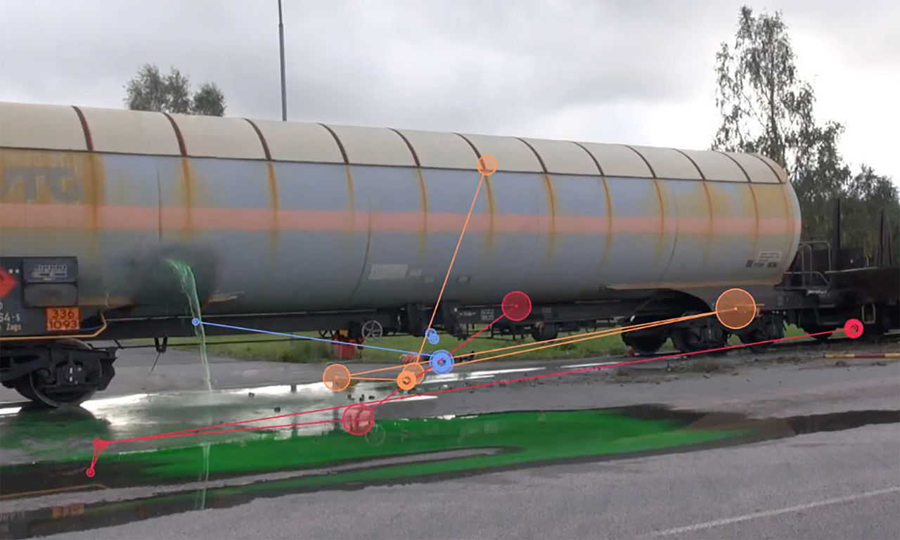 An image of an accident with a tanker truck from an exercise for rescue services