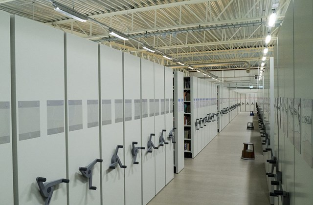 Picture from inside Bokladan on Compactus shelves