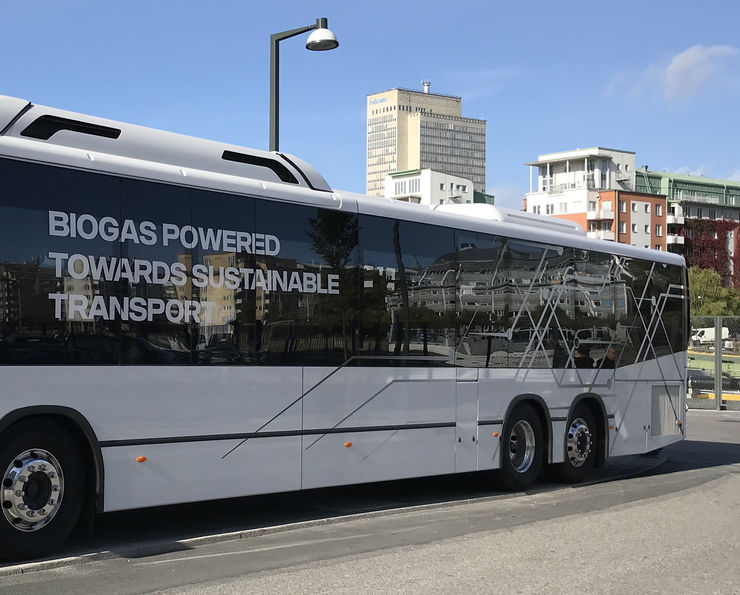 Biogas powered bus in Stockholm