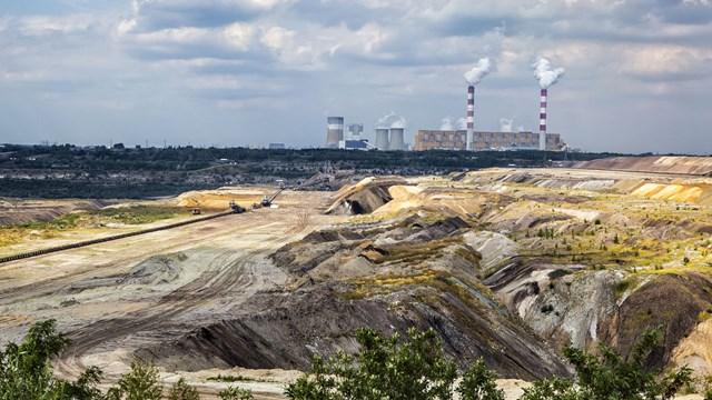 Environmental degradation in coal-fired power station in Belchatow, Poland