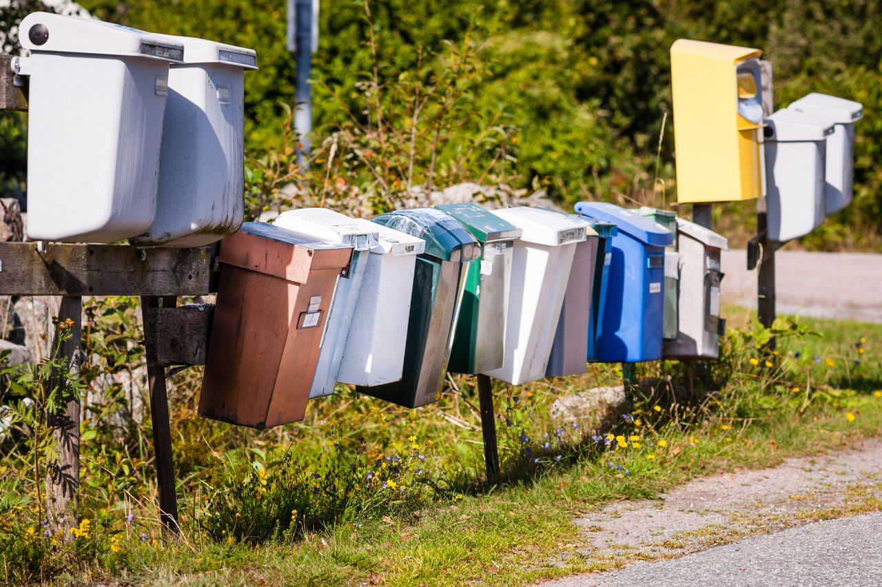 Mailboxes in a row on the Swedish countryside reminds  all Swedes about summer and vacation when time is not a factor more than when to have another cup of coffee and a cinnamon roll.