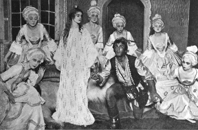 "Group of actors in the play ""Det var en gång"" with Olga Raphael as the princess and Semmy Friedman as the prince."
