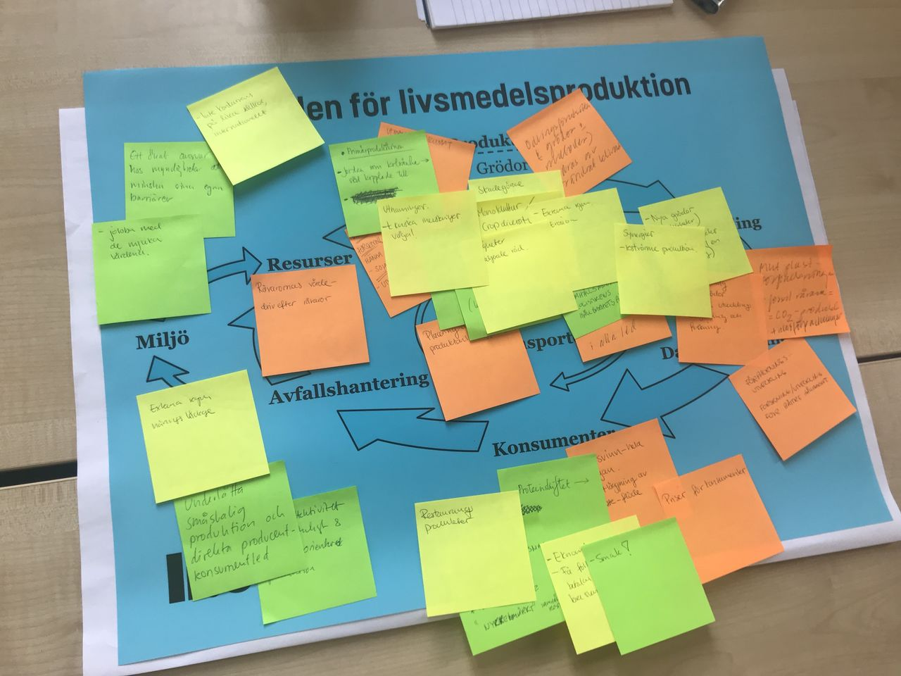 Stakeholder workshop mapping issues along the food chain in Sweden for further study.