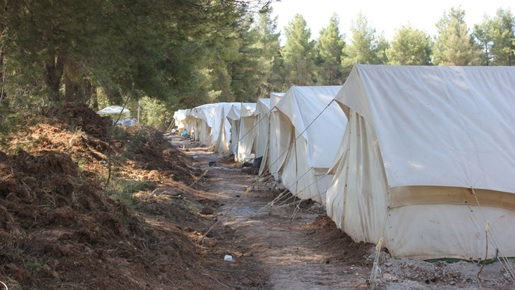 Refugee tents at Lesbos, Greece