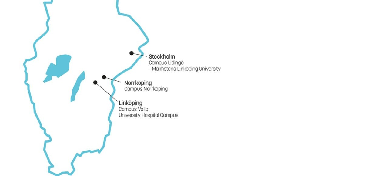 Map of southern Sweden and LiU's four campuses.