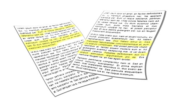 Two paper documents where parts of the text is marked in yellow.