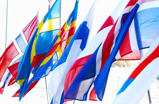 Nordic flags waving