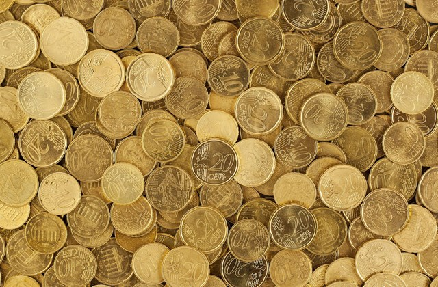 Image of gold colored euro coins