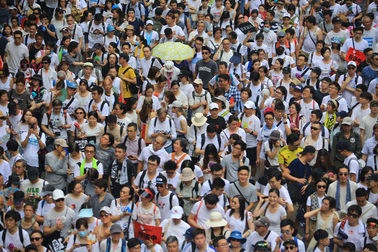 Hong Kong- 9 June 2019: the crowd protest in the rally. More than 150,000 protesters took to the streets of Hong Kong Sunday to oppose a controversial extradition bill