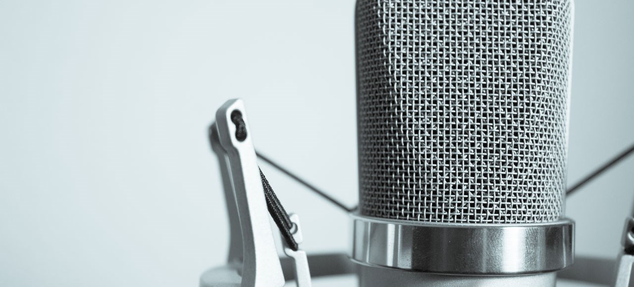 Closeup of a microphone.