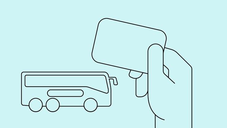 Illustration of a hand holding a ticket with a bus in the backgruound