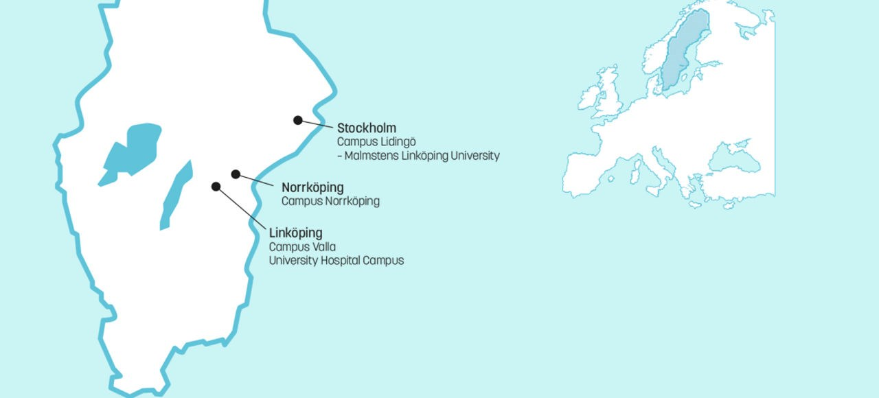 Map showing Linkoping university campus in Sweden.