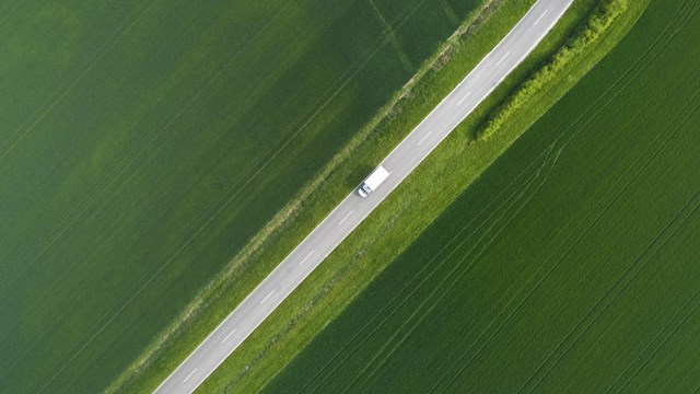 Road through agricultural area - aerial view