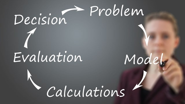 Working methodology for optimization: Problem-Model-Calculations-Evaluation-Decision