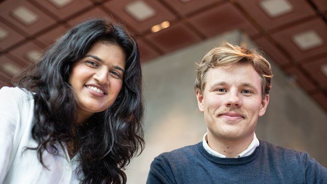 Two students, Maria Lokat and Markus Pettersson, looking straight into the camera.