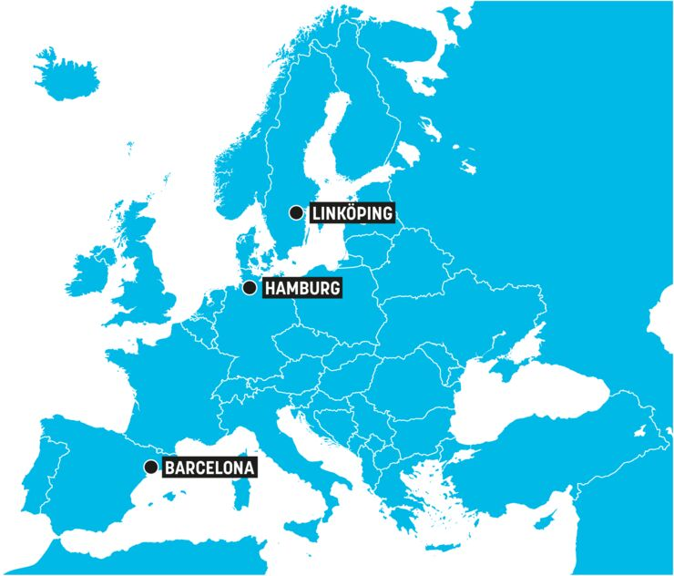 Map of Europe with ECIU innovation hub cities Linköping, Hamburg and Barcelona