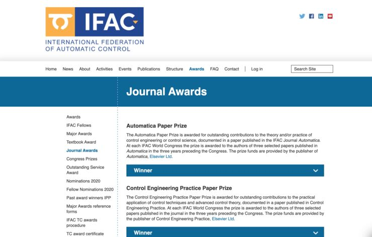 Screenshot IFAC World Congress webpage
