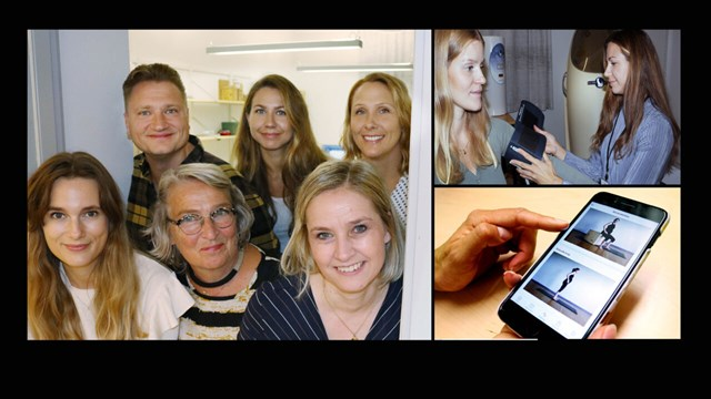 Mixed photos of research group, pregant woman and cellphone.