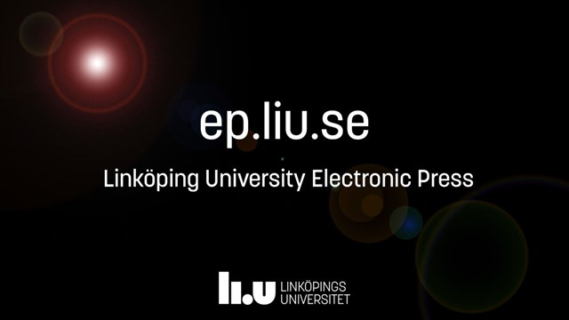 Text on a dark background with the text ep.liu.se Linköpings University Electronic Press