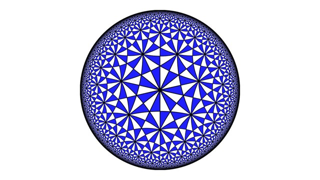 A tiling of the hyperbolic plane. CRED: By Claudio Rocchini - Own work, CC BY 2.5, https://commons.wikimedia.org/w/index.php?curid=1669501.
